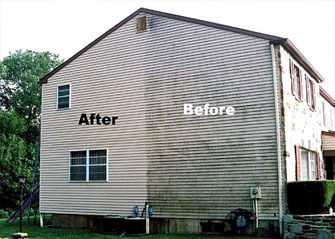Before and after photo of home siding, that has been pressure washed