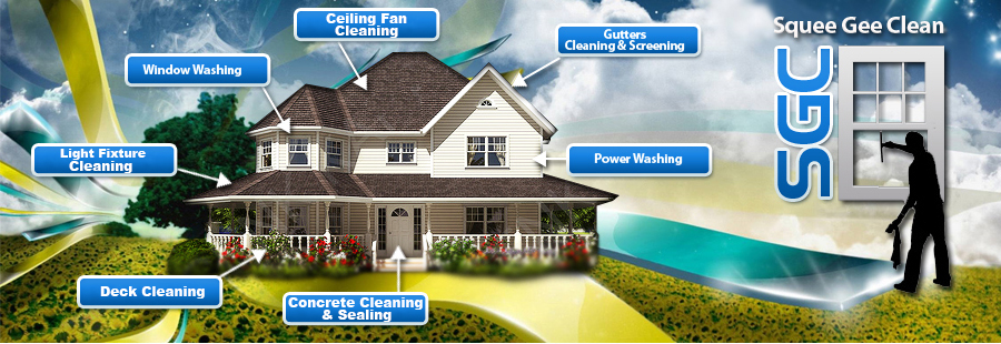 Window Washing, Power Washing, Deck Cleaning, Concrete Cleaning & Sealing, Light Fixture Cleaning, Ceiling Fan Cleaning, Gutter Cleaning & Screening